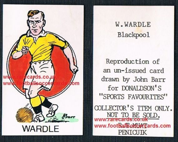 1968 Barr Muat Donaldson unissued 1948 art card Billy Wardle Blackpool Southport Brum
